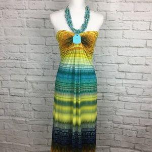 NWT Sky Brand Turquoise Halter Maxi Dress Medium